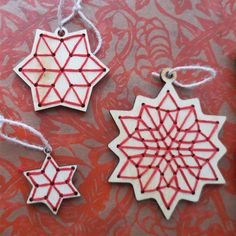 DIY Ornament Embroidery Kit  Redwork Stars by CuriousDoodles, $12.00