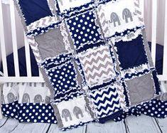 Elephant Crib Set - Navy / Gray Crib Bedding - Baby Bedding Sets- Jungle Nursery- Safari Nursery- Crib Size Rag Quilt, Sheet, Skirt, Bumper