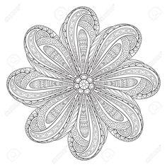 Esquema De Mandala Para Colorear. Ronda Adorno Decorativo. Antiestrés Patrón De…