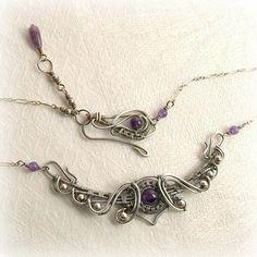 Sterling Silver Jewelry From Israel Purple Necklace, Wire Necklace, Wire Wrapped Necklace, Handmade Wire Jewelry, Egyptian Jewelry, Wire Pendant, Sterling Silver Bracelets, Silver Ring, Jewelry Art
