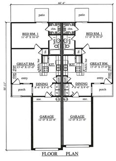 Multi-Family Plan 75049 - Country, Traditional Style Multi-Family Plan with 1386 Sq Ft, 2 Bed, 2 Bath, 2 Car Garage Duplex Design, House Design, Duplex Floor Plans, Rm 1, Electrical Plan, Traditional House Plans, Apartment Plans, Country House Plans, New Home Designs
