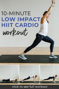 Our 10-Minute Low Impact HIIT Cardio Workout is perfect for the busy woman on the go!. You'll love these HIIT workout moves, which help you tone and strengthen your body.  Plus, these exercises for women are low-impact and perfect for the average busy woman or those looking for an at-home prenatal workout.    Nourish Move Love #exercise #workout #fitpregnancy
