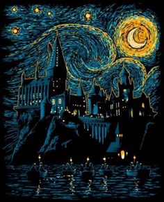 Displate Poster Starry School harry potter hogwarts starry night van gogh moon movies Beauty poster Starry School by Denis Orio Ibañez Harry Potter Tumblr, Harry Potter Kunst, Arte Do Harry Potter, Harry Potter Drawings, Harry Potter Painting, Harry Potter Poster, Harry Potter Illustrations, Harry Potter Hogwarts, Harry Potter Style