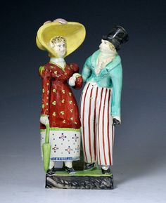 Staffordshire Pottery figure group of the Dandies early 19th century England