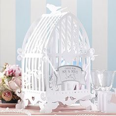 Vintage Lace Birdcage Post Box - Confetti