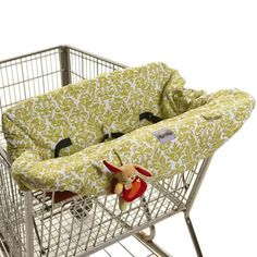 """NEED! It fits even the Costco carts!"" -Sharmela Itzy Ritzy Shopping Cart & High Chair Cover Damask Avocado from @Layla_Grayce #laylagrayce #baby #gear"