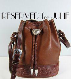 Vintage BRIGHTON Out West Leather Large Bucket Bag Cross Body Drawstring Handbag Purse Braided Southwestern Boho Hippie. $75.00, via Etsy.
