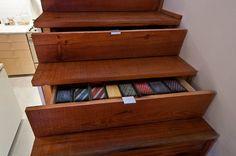 Industrial Staircase storage by Loft Storage, Extra Storage Space, Hidden Storage, Storage Spaces, Drawer Storage, Home Design Decor, Interior Design Tips, Home Interior, Hidden Spaces