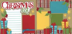 Christmas Scrapbook Layout... Love the Christmas list journaling block