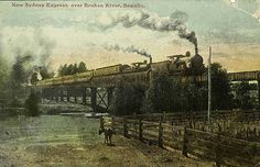 Inscription: New Sydney Express over Broken River, Benalla. Description: Train consisting of two tenders and six carriages crossing trestle bridge over a river. There is a horse beside a fence in the foreground. Location: Benalla, Victoria, Australia