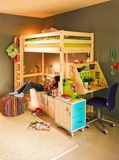 Micasa Kinderzimmter mit Hochbett (individuell zusammenstellbar) und Sofabett aus dem Programm FLEXA