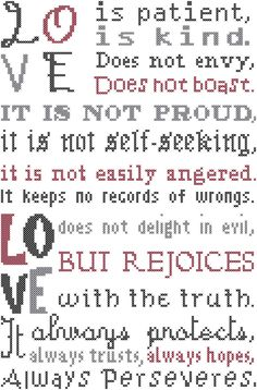 Cross Stitch Pattern Modern Love is Patient Love is Kind Typeset Bible Verse 1st Corinthians 13:4 by oneofakindbabydesign on Etsy https://www.etsy.com/listing/180141123/cross-stitch-pattern-modern-love-is