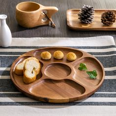 Wood Round Serving Divide Plates