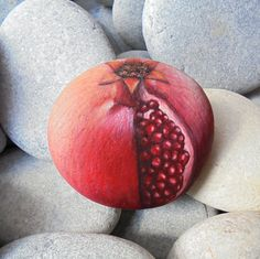 Hand Painted Rock open Pomegranate Is Painted by KanetisStones