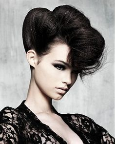 long black straight crimped updo Party hair hairstyles for women Mohawk Hairstyles, Party Hairstyles, Vintage Hairstyles, Black Women Hairstyles, Straight Hairstyles, Crimped Hairstyles, Straight Updo, Bangs Hairstyle, Black Hairstyle