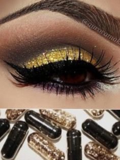 Batman wedding gold and black eyeshadow
