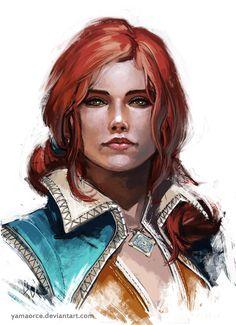 Triss Portrait by YamaOrce . Character Concept Art Illustration
