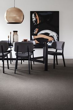 Fresh Modern Black and Grey Dining Set Ideas to Refine the Interior - ChecoPie Hairpin Dining Table, Simple Dining Table, Modern Dining Room Tables, Wooden Dining Tables, Dining Set, Living Room White, Living Room Carpet, Living Room Decor, Deep Purple