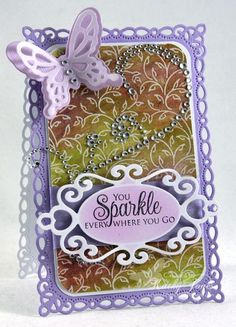 Kathy Jones for JustRite using the What I Like About You and Filigree Leaves background stamps and Spellbinders dies; Sept 2013