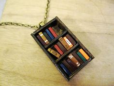 Antique Bookshelf Necklace Book Jewelry by by Coryographies