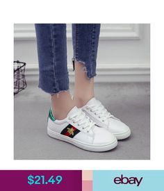 Flats Fashion Women Flat Heel Lace Up Embroidery Casual Shoes Sneaker Multicolor #ebay #Fashion