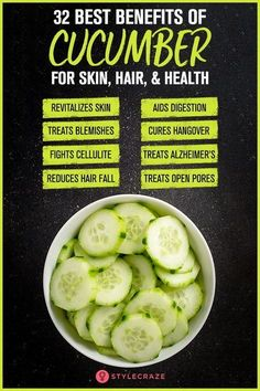 32 Best Health Benefits Of Cucumber (Kheera) Do you know that cucumber have water content? Yes its true! Read more to know about interesting facts & benefits of cucumber along with nutrition value. Cucumber Health Benefits, Matcha Benefits, Lemon Benefits, Coconut Health Benefits, Benefits Of Fruits, Cucumber For Skin, Cucumber Yogurt, Cucumber Cleanse, Cucumber Beauty