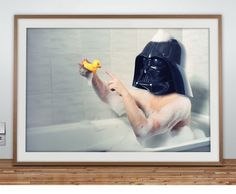 dark vador in his bath with his rubber duck.