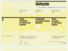 HWPH AG - Historische Wertpapiere - Gotthard Bank AG / Lugano, 26.02.1987, Aktie über 100 Schweizer Franken