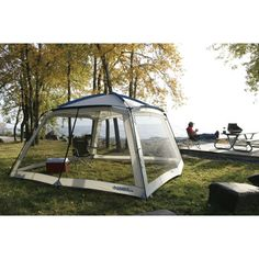 we have this screen tent. easy to set up and works well. Camping Games, Camping Checklist, Camping Gear, Truck Camper, Rv Campers, Camper Trailers, Screen Tent, Screen House, Camping Organization