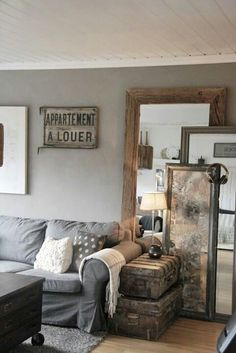 Love the rustic feeling to this cozy living room!