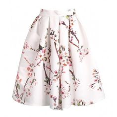 A-Line Pleated Skirt In Cherry Blossom Print featuring polyvore fashion clothing skirts faldas pink skirt a-line skirt pleated a line skirt knee length pleated skirt pleated skirt