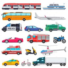 Transport vector public transportable vehicle plane or train and car or bicycle for transportation in city illustration set of ambulance fire-engine and police car isolated on white background , Car Top View, Transport Public, Bedroom Drawing, Learn Thai, Photo Zone, City Illustration, Kindergarten, Car Drawings, Fire Engine