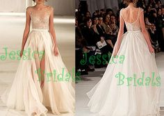 Sexy illusion wedding dress beaded lace wedding by JessicaBridals, $366.00