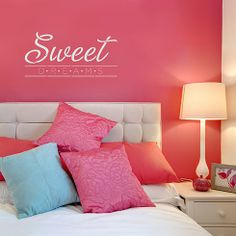 Cutting Edge Stencils - Sweet Dreams Quote Wall Stencil. $19.95. See more wall quotes Stencils: http://www.cuttingedgestencils.com/wall-quotes-stencils-quotes-for-walls.html  #quotes #wall #painting #stenciling