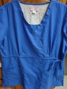 KOI Kathy Peterson Womans Scrub Shirt 2X XXL Medical Top uniform Nurse Tie Blue #Koi #scrub