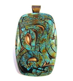 Polymer Clay Pendant - Fabulous Faux Collection - Winding Path Carico Lake Mosaic Turquoise Pendant