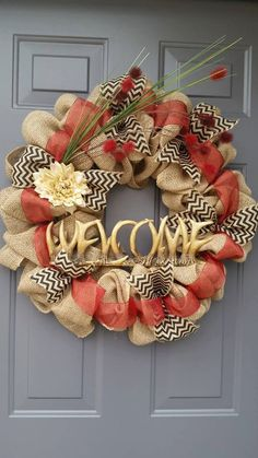 Items similar to Burlap wreath. Deer antler welcome sign. on Etsy Antler Wreath, Burlap Wreath, Deer Antlers, Red Ribbon, Cabin, Wreaths, Sign, Fall, Awesome