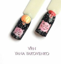 Pig nail art is in a high demand now. The 2019 year is a year of a yellow pig. See the cutest nail designs with this year`s symbol! Pig Nail Art, Pig Nails, Animal Nail Art, Cute Nail Art, Cute Nails, New Years Nail Designs, New Years Nail Art, Cute Nail Designs, Xmas Nails
