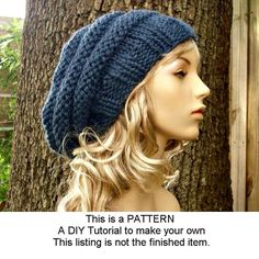 Instant Download - Knit Hat Knitting Pattern - Knit Hat Pattern for The Original and Oversized Beehive Beret Hat Winter Fashion