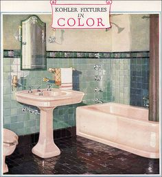 1928 Kohler Color Bathroom Fixtures This is the Kohler Imperator bath, Belmore lavatory, and Rockbourne Toilet. The caption says the color of the fixtures is Autumn Brown, but they look pink to me. 1930s Bathroom, Kohler Bathroom, Art Deco Bathroom, Vintage Bathrooms, Bathroom Colors, Bathroom Fixtures, Pink Bathrooms, Plumbing Fixtures, Bathroom Ideas