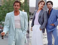 In the mid 1980's Armani men's suits gained worldwide attention when they were worn by actors Don Johnson and Philip Michael Thomas (aka Crockett & Tubbs) on the American TV show Miami Vice.