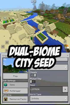 This Minecraft: Pocket Edition City Seed spans across two different biomes, is made from two villages, and has two blacksmiths! Video Minecraft, Minecraft Pe Seeds, Minecraft Cheats, Easy Minecraft Houses, Minecraft Plans, Amazing Minecraft, Minecraft House Designs, Minecraft Tutorial, Minecraft Blueprints