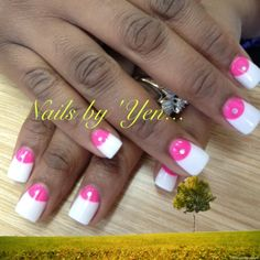 BOLD #pink and white mild #duck feet nails with rhinestones . #nail art #nail design . Thanks Rene!