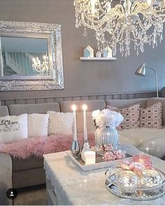 Grey and White w/ Blush Accents.