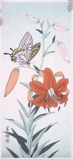 Butterfly and Lily Jō (Japanese) Japan, 20th century Prints; woodcuts Color woodblock print Image: 14 1/4 x 6 3/8 in. (36.2 x 16.3 cm); Paper: 15 9/16 x 7 1/16 in. (39.6 x 18.0 cm) Gift of Mr. and Mrs. Felix Juda (M.73.37.511) Japanese Art