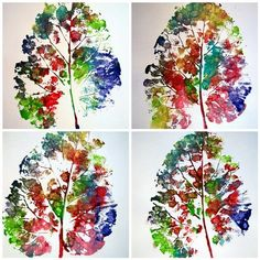Easy DIY leaf printing craft for kids via Kleas - paint a leaf with multiple colors then use it as a stamp
