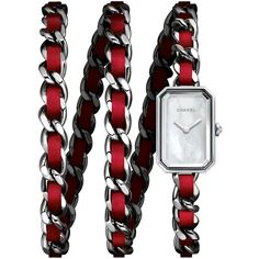 Chanel PREMIÈRE Triple-Row Red Leather Chain Watch ($4,900) ❤ liked on Polyvore featuring jewelry, watches, jewelry watches watches, leather wrist watch, dial watches, leather jewelry, chanel jewelry and chanel