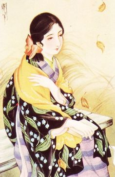 Art by Kasho Takabatake 高畠華宵 Japanese Artwork, Japanese Painting, Japanese Prints, Japanese Beauty, Japanese Geisha, Japanese Kimono, Japan Illustration, Geisha Art, Bonsai Art