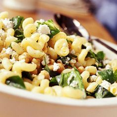 Greek: Cavatappi with Spinach, Garbanzo Beans, and Feta