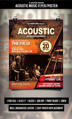 Acoustic Music Flyer / Poster — Photoshop PSD #event #print template • Available here → https://graphicriver.net/item/acoustic-music-flyer-poster/9112324?ref=pxcr